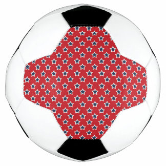 Blue & White Stars on Red Soccer Ball