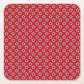 Blue & White Stars on Red Square Paper Coaster
