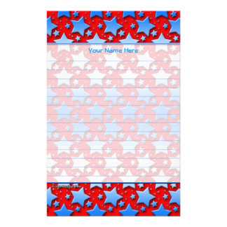 Blue White Stars on Red Stationery