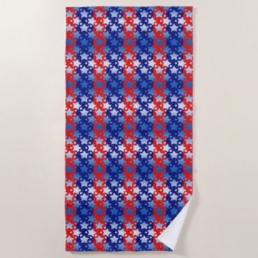 Beach Themed Blue White Stars Red Blue Stripes Beach Towel