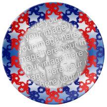 Blue White Stars Red Blue Stripes Border Porcelain Plate
