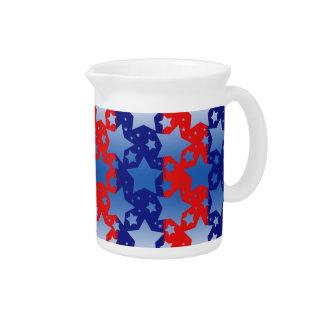 Blue White Stars Red Blue Stripes Drink Pitcher