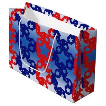 Linda_MN Blue White Stars Red Blue Stripes Large Gift Bag