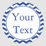 Blue & White Stickers or Labels w/ Custom Text Round Sticker
