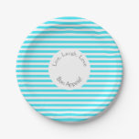 Blue, White Strip Paper Plate