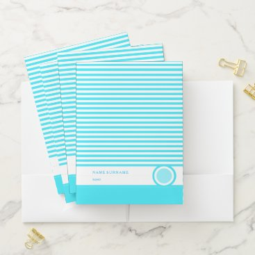 Blue, White Strip Pocket Folder
