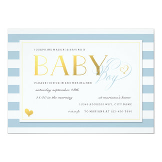 Blue & White Stripe Baby Boy Shower Gold Accents 5x7 Paper Invitation Card