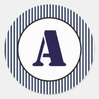 Blue & White Stripe - Circle Sticker