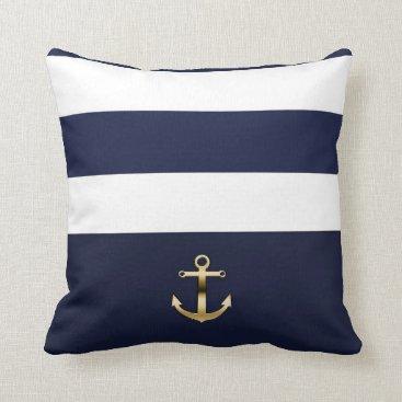 Beach Themed Blue & White Stripe Gold Anchor Nautical Chic Throw Pillow