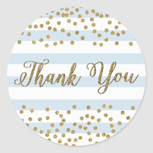 Blue White Stripe Gold Confetti Party Thank You Classic Round Sticker
