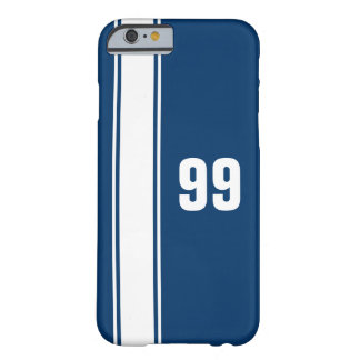 Blue & White Stripe Jersey Numbered iPhone 6 Case