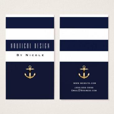 Beach Themed Blue & White Stripe Nautical Gold Anchor Business Card