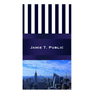 Blue White Stripe NYC Skyline Empire State, WTC Double-Sided Standard Business Cards (Pack Of 100)