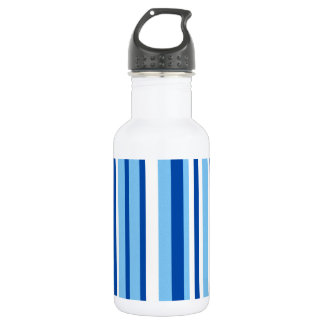 Blue & White Stripe Pattern Water Bottle