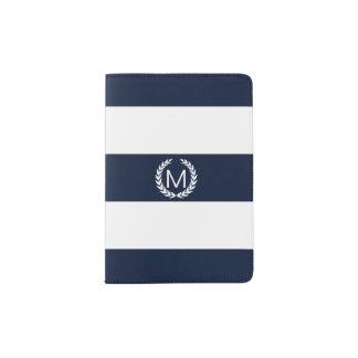 Blue & White Stripe with Laurel Wreath Monogram Passport Holder