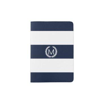 stripystripes Blue & White Stripe with Laurel Wreath Monogram Passport Holder
