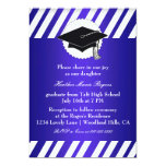 Blue White Striped Graduation Inivitation Invite