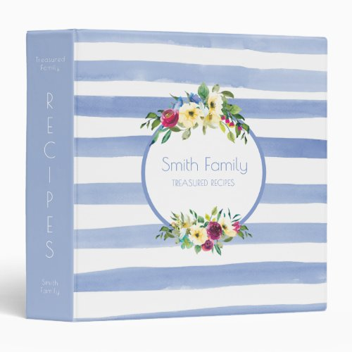 Blue White Striped Purple Yellow Floral Recipe 3 Ring Binder