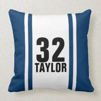 Blue & White Striped Sports Jersey Throw Pillow