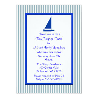 Blue White Stripes Boat Bon Voyage Party Card