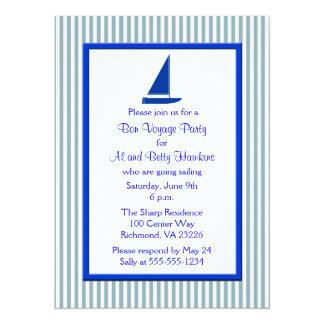 Blue White Stripes Boat Bon Voyage Party Card