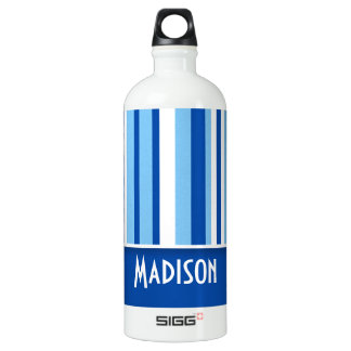 Blue & White Stripes; Cute Water Bottle