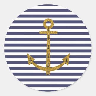 Blue White Stripes Gold Anchor Glitter Print Classic Round Sticker