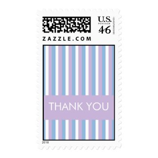 Blue White Stripes lilac Thank You Stamp stamp