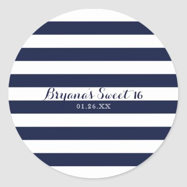 Beach Themed Blue & White Stripes Modern Striped Custom Favor Classic Round Sticker