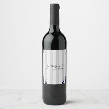 Beach Themed Blue & White Stripes Modern Striped Wine Labels
