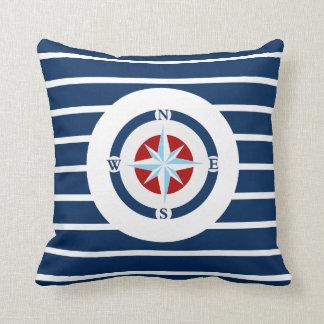 Blue White Stripes Nautical Compass Throw Pillows