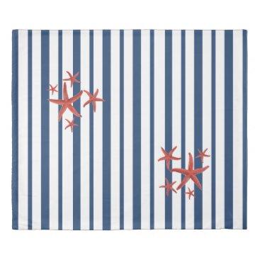 Beach Themed Blue & White Stripes & Orange Starfish Duvet Cover