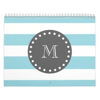 Blue White Stripes Pattern, Charcoal Monogram Calendar