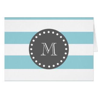 Blue White Stripes Pattern, Charcoal Monogram Card