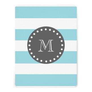 Blue White Stripes Pattern Charcoal Monogram Personalized Invites