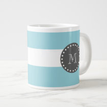 Blue White Stripes Pattern, Charcoal Monogram Large Coffee Mug