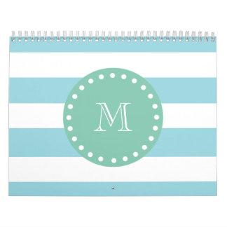 Blue White Stripes Pattern, Mint Green Monogram Wall Calendars