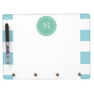 Blue White Stripes Pattern, Mint Green Monogram Dry-Erase Whiteboards