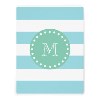 Blue White Stripes Pattern Mint Green Monogram Personalized Invitation