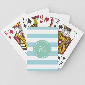Blue White Stripes Pattern, Mint Green Monogram Poker Deck