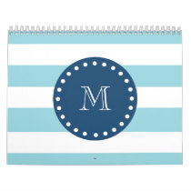 Blue White Stripes Pattern, Navy Blue Monogram Calendar