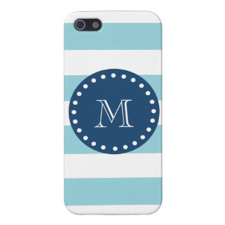 Blue White Stripes Pattern, Navy Blue Monogram Cover For iPhone 5/5S