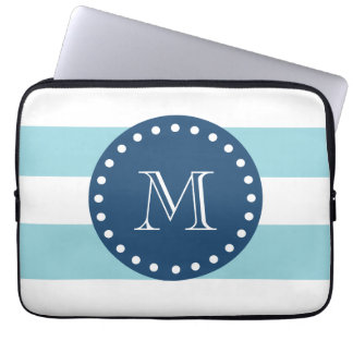 Blue White Stripes Pattern, Navy Blue Monogram Laptop Computer Sleeve