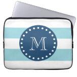 Blue White Stripes Pattern, Navy Blue Monogram Computer Sleeve