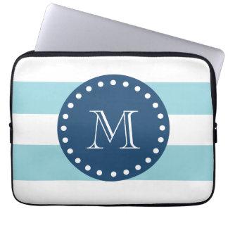 Blue White Stripes Pattern, Navy Blue Monogram Laptop Sleeve