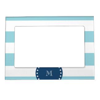 Blue White Stripes Pattern, Navy Blue Monogram Magnetic Frame