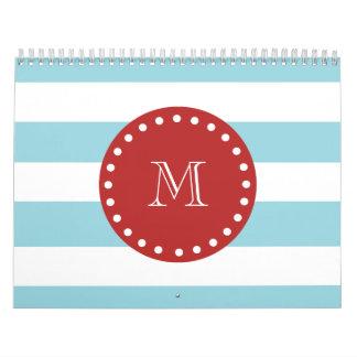Blue White Stripes Pattern, Red Monogram Calendar