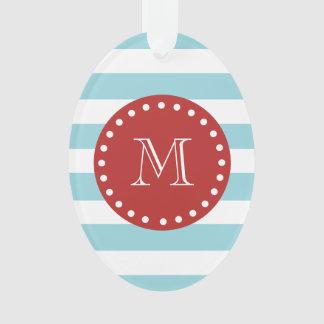 Blue White Stripes Pattern, Red Monogram Ornament