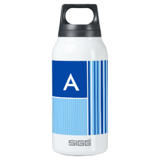Blue & White Stripes; Striped Insulated Water Bottle