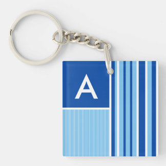 Blue & White Stripes; Striped Double-Sided Square Acrylic Keychain